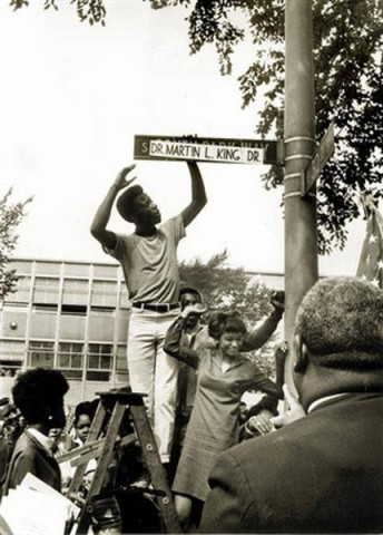 For Firsts: In 1973, the State of Illinois became the first state to make Martin Luther King's birthday a state holiday. Fade here: http://www.whatwasthere.com/b/39625
